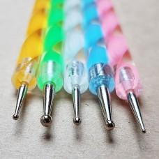 Кардины (набор из 5 штук) для художественной обработки кожи, ручка мультиколор.