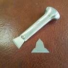 Нож для кожи прорубной + 2 лезвия 24 и 35 мм. Металлическая ручка.