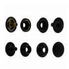 """Фурнитура - кнопка """"Зажим с кольцом"""". Размер 12.7 мм. 100% латунь + МАТОВЫЙ ЧЁРНЫЙ."""