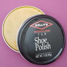 Финишная оттеночная полироль для изделий из гладких кож Kellys Paste Wax - 85 гр. Tan.