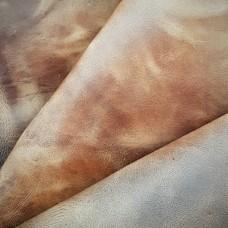 Кожа телёнок крейзи хорс не брашированный 2 сорт, коричневый 1.4 мм. отрез с неровными краями 36х38 см.