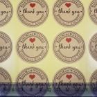 """Наклейка самоклеющаяся этикетка на товар (упаковку) """"Thank you"""" 12 шт./лист."""