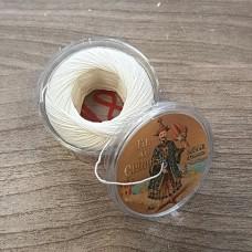 Нитки для кожи льняные FIL DE LIN №40, фирменная капсула 50 метров. Цвет натуральный белый.