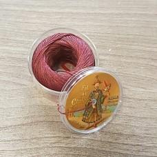 Нитки для кожи льняные FIL DE LIN №40, фирменная капсула 50 метров. Цвет бордовый.