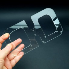 """Радиусная линейка из прозрачного пластика """"очки""""."""
