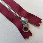 Молния YKK. Standard Polished №3 Color 527. Антиникель, бордовый неразъёмная 20 см.