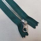 Молния YKK. Standard Polished №3 Color 530. Антиникель, зелёный неразъёмная 20 см.