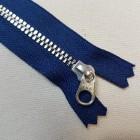 Молния YKK. Standard Polished №3 Color 040. Антиникель, синий неразъёмная 20 см.