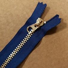 Молния YKK. Standard Polished №3 Color 040. Латунь, синий неразъёмная 20 см.