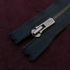 Молния YKK Excella single №2  20 см. старая латунь чёрный цвет.