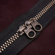 Молния YKK Standard Polished single двухзамковая №3 50 см. старая латунь чёрный цвет.