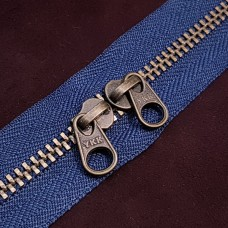 Молния YKK Standard Polished single двухзамковая №3 50 см. старая латунь синий цвет.