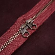 Молния YKK Standard Polished single двухзамковая №3 50 см. старая латунь бордовый цвет.