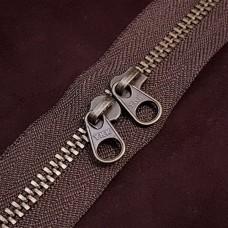 Молния YKK Standard Polished single двухзамковая №3 50 см. старая латунь тёмно-коричневый цвет.