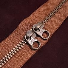 Молния YKK Standard Polished single двухзамковая №3 50 см. старая латунь коричневый цвет.