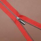 Молния металл тип 4 неразъёмная однозамковая красная тесьма / чёрный никель 18 см.