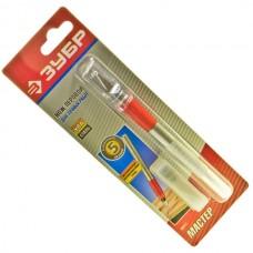 Перьевой нож для художественных работ Зубр ручка из металла + 5 лезвий в комплекте.
