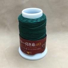 Нитки для кожи кручёные из полиэстера. Жирно вощёные. Seiwa made in Japan, 1 мм. 50 метров. Изумрудный.