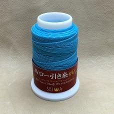 Нитки для кожи кручёные из полиэстера. Жирно вощёные. Seiwa made in Japan, 1 мм. 50 метров. Небесно-голубой.