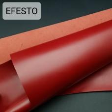 Кожа галантерейная теленок EFESTO красный, ДВОЁНЫЙ до 0.6 мм. отрез 19х77 см.