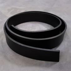 Заготовка для ремня из кожи растительного дубления (черный) 1-й сорт, пр-во Италия 1100х38 мм